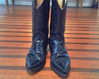 Black Leather Reynaga Cowboy Boots