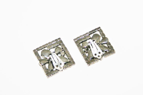 Vintage 1950's Large Rectangular Rhinestone Earrings