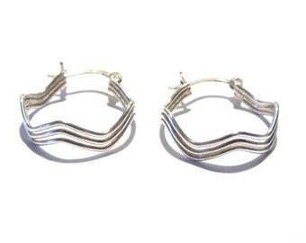 Vintage Sterling Zig Zag Hoop Earrings