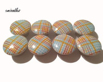 8 Custom Multi Colored Striped Hand Painted Drawer Pulls Knobs