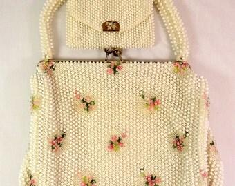 Corde Beaded Purse Handbag, Vintage Cream/Off White, Satin Lining, Metal Snap Opening, Coin Purse (Box D)
