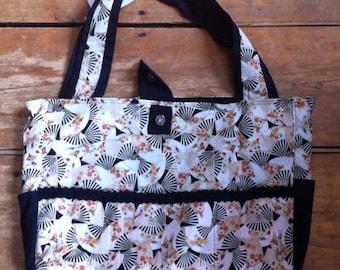 Black and Tan Floral Fan Bag