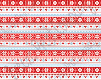 Red, light blue and white Christmas pattern craft  vinyl sheet - HTV or Adhesive Vinyl -  Nordic knitted sweater pattern HTV3601