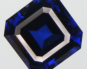 6.24 CT Blue Sapphire Excellent Cut Asscher 10 x 9.9  mm. Blue Sapphire Lab Corundum Lab Created
