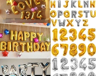 "40"" Silver Gold Letter Foil Balloons Custom word phrase personalized balloon 40 inch Banner Foil Loons Wedding Merry Me XOXO Miss"
