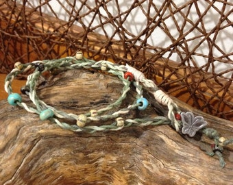 Variegated Hemp Handmade Friendship Bracelet/Anklet/Wristband - 3 cord plait with Czech Glass Beads and Butterfly Button closure