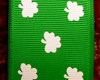 "2 Yards 7/8"" St. Patrick's Day Emerald with Tiny White Shamrock Print Grosgrain Ribbon"