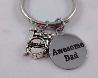 Awesome Dad Keychain, Dad Keychain, Drum Charm, Fathers Day Gift, Birthday Gift for Dad, Gift for Him