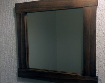 Small Mirror in a Handmade Wooden Frame, Walnut Wax, + Other Finishes