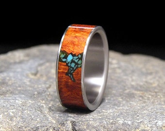 Red Amboyna Burl Sleeping Beauty Turquoise Inlay Titanium Ring