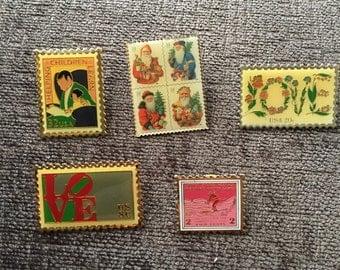 Postage Stamp Festive Pins
