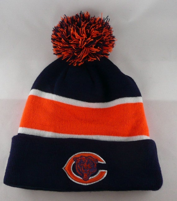 vintage 70 39 s chicago bears beanie knit ski winter pom hat. Black Bedroom Furniture Sets. Home Design Ideas