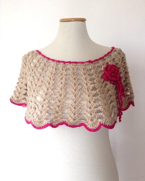 Fringed cowl, Crochet cape, light brown and fuchsia cape, crocher poncho, gift for her, winter crochet, crochet accessories, crochet shrug