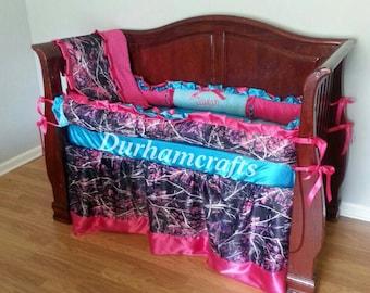 custom baby girl camo and 2 color choices ruffled bedding set