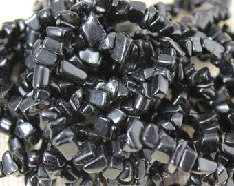Genuine Jet Black Obsidian Chip Beads (72 Pieces)