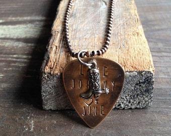 Guitar Pick Necklace, Love Like Johnny And June Necklace, Johnny Cash, June Carter Cash