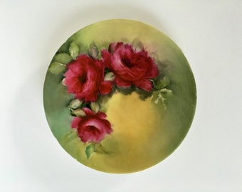 Vintage Rose Plate, Limoges Roses Plate, France Limoges Plate with Roses