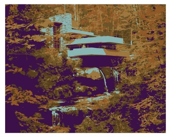 Fallingwater print, Frank Lloyd Wright, Pennsylvania, Architecture wall art, print on canvas, Midcentury modern