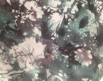 "Vintage Floral pattern Rayon/Polyester fabric - multi colored - 18"" x 58"""