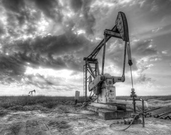 Pumpjacks in Texas, black and white photograph