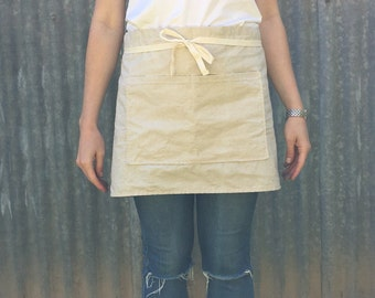 Linen half apron/ cafe apron beige natural linen / cotton