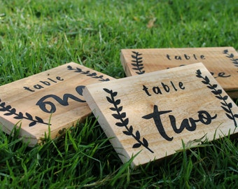 Table Numbers Wedding Wooden Table Numbers Holder Rustic Wedding Decoration Centerpiece Table Numbers  | 15cm x 10cm