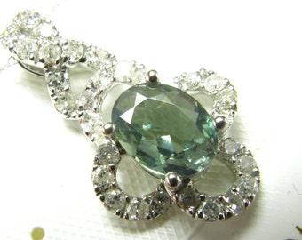 0.90 Carat Alexandrite + Diamond Pendant in 14k White Gold