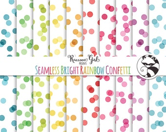 50% OFF Seamless Bright Rainbow Confetti Digital Paper Set - Personal & Commercial Use