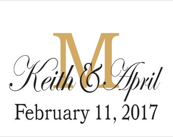 Custom Monogram **STENCIL**- With Initial, Names & Wedding Date-  5 Sizes- Create Custom Wedding Signs Youself