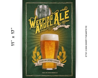 """11""""x17"""" Weeping Angel Ale// Vintage Ad // Dont Blink // Doctor Who Poster"""