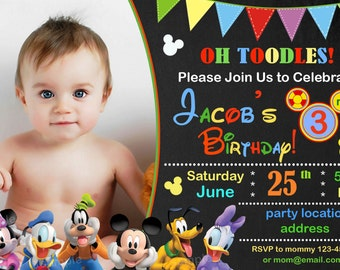 Mickey mouse Birthday Invitation, mickey mouse clubhouse birthday invitation, mickey mouse clubhouse invitation - Digital