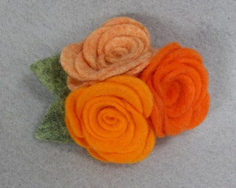 Felt Flower Brooch - Orange Flower Pin, Felt Pin, Felt Brooch, Fabric Flower, Felt Flower Pin, Felt Jewelry, Rose Brooch, Rose Pin