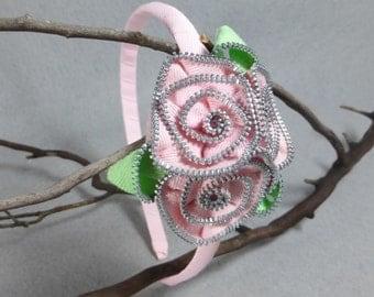 Pink Flower Headband - Zipper Flower - Zipper Headband - Upcycled - Recycled - Repurposed - Girls Headband -Womens Headband -Baby Headband