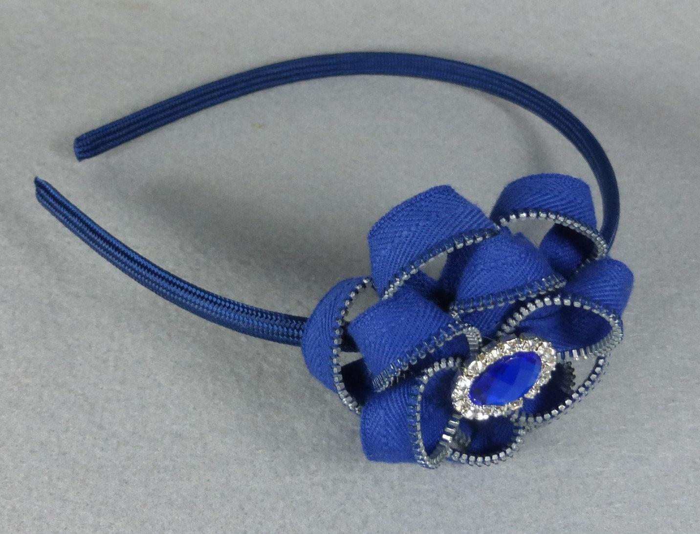 Blue Flower Headband Zipper Flower Zipper Headband Upcycled