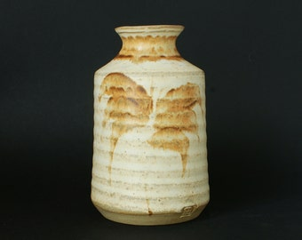 Rustic Studio Pottery Vase - Ribbed Pottery Vases - Unknown British Pottery And Potters Marks - Circa 1980s