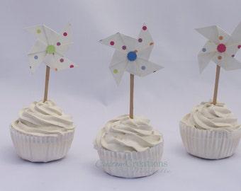 12 ct Polka Dot Pinwheel Cupcake Toppers
