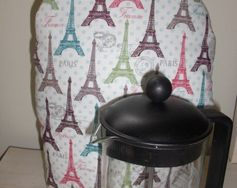French Coffee Press Cozy Cafetaire Cover Insulated with InsulBright and Warm Fleece Paris Print Teal Blue Brown and Green Eiffel Tower Print