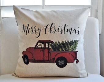 SALE, Christmas pillow cover, Christmas decor, Christmas Tree, Merry Christmas pillow, hand drawn, Vintage christmas,  red Christmas truck