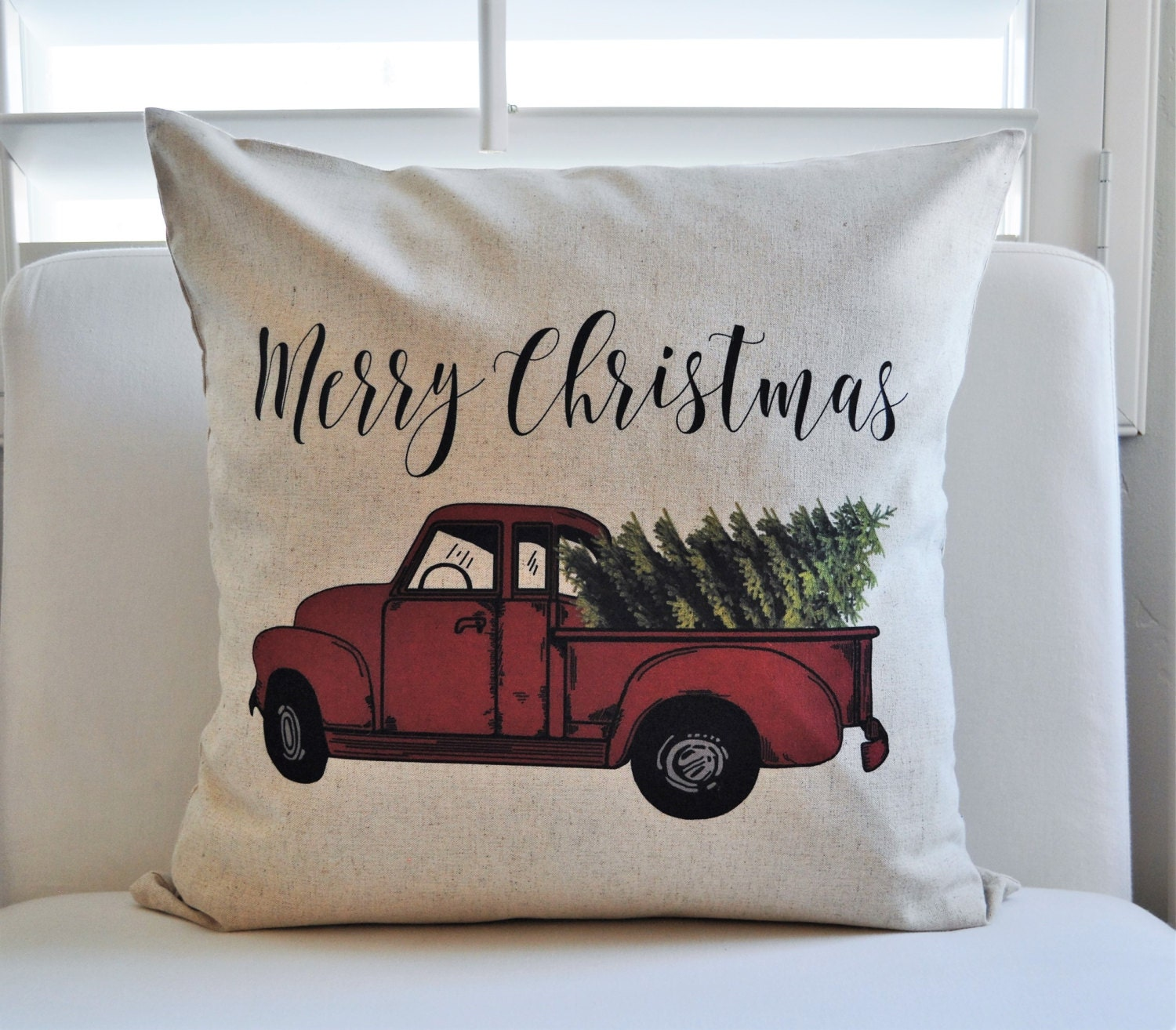 sale christmas pillow cover christmas decor christmas tree merry christmas pillow hand drawn vintage christmas red