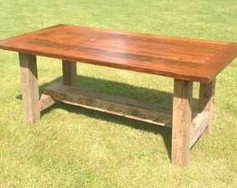 Pine Barnwood Farm Style Dining Room Table