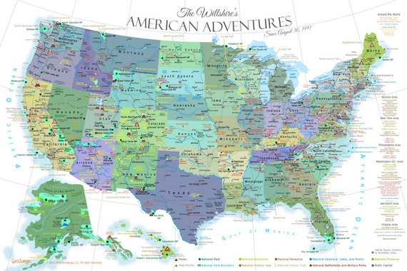 USA Map National Park Map Poster Crisp White Edition See - Us map national parks