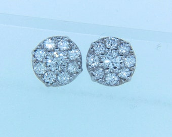 14K White Gold Cluster Diamond Earrings 18- 0.73 Total Carat Weight.
