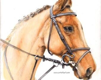 Horse Portrait - original painting acrylic on MDF board - framed