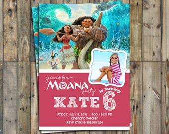 Moana Birthday Invitation Personalized Photo