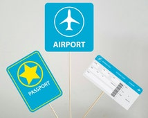 Travel Centerpieces, Traveling Centerpieces, Airplane Party Centerpiece, Airplane Party Sign, Airplane Birthday Party, Airport Terminal Sign