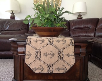 Burlap Table Runner printed with a Rope and Anchor Pattern