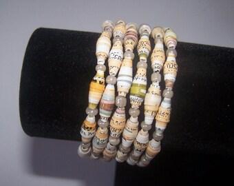 Peach Memory wire paper bead bracelet