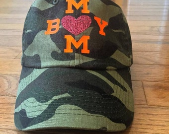 Mom plus boy equals love baseball cap.   Many colors to choose from.