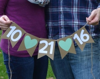 Save the Date Banner- Wedding Banner - Engagement Photo Prop -Shower Banner - Photo Prop - kraft panels