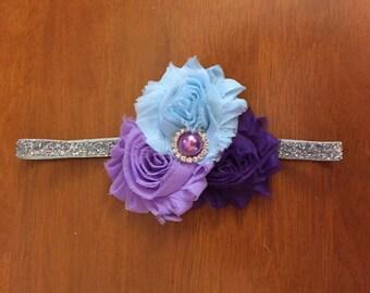 Light blue, lavender, purple, and silver shabby flower trio headband
